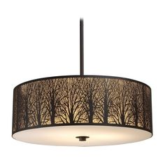 Elk Lighting Drum Pendant Light with Amber Glass in Aged Bronze Finish 31075/5  Maybe for stair landing in 5 light