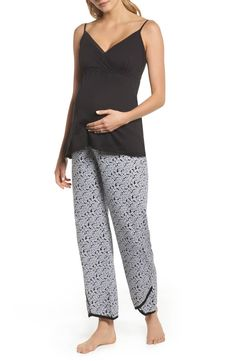 Women's Belabumbum Kyoto Pima Cotton Maternity Pajamas, Size X-Large - Black Floral Print Pants, Printed Pants, Maternity Pajamas, Nordstrom Beauty, Prom Looks, Men Looks, Best Brand, Looking For Women, Night Out