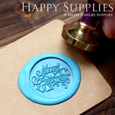 1pcs Merry Christmas Gold Plated Wax Seal by HappyJewelrySupplies, $9.80