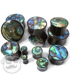 Horn Plugs With Abalone Shell Inlay