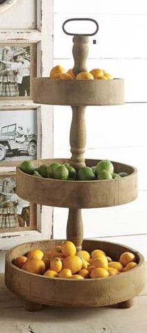 This is a substantial sized 3-tier wood stand with so many uses! It looks beautiful in the kitchen with various fruits, small plants, other goodies and it's amazing how this can look for a party with