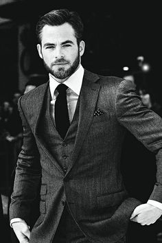 Suited Up l Chris Pine Gentleman Mode, Dapper Gentleman, Gentleman Style, Chris Pine, Sharp Dressed Man, Well Dressed Men, Suit And Tie, Harrison Ford, Modern Man