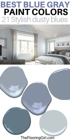 Best blue gray paint shades for bedrooms. These dusty blue paint colors will transform your room. Chic and soothing bluish gray paint shades for a trendy and relaxing home. These tranquil paint colors will transform your home and how you feel in it. Blue Bedroom Paint, Paint Colors For Living Room, Paint Colors For Home, House Colors, Blue Bedroom Colors, Colors For Bedrooms, Blue Living Room Walls, Best Bedroom Paint Colors, Blue Master Bedroom