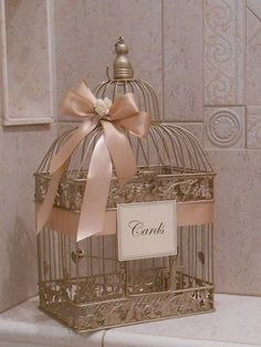Large Champagne Gold  and Blush Wedding Card Box / Wedding Card Holder / Birdcage Card Holder / Wedding Decor / Large Card Holder / Birdcage by ThoseDays on Etsy https://www.etsy.com/listing/256610378/large-champagne-gold-and-blush-wedding