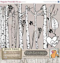SALE  40 Birch Tree Clip Art  Tree ClipArt   by FishScraps on Etsy, $3.45