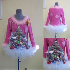 Perfect Pink 2 turtle doves a Pear in a Christmas Tree Sweater and matching tutu size Medium light up Womens Ugly Christmas Sweater, Lovely Perfect Pink 2 turtle doves a Pear in a by tackyuglychristmas Homemade Ugly Christmas Sweater, Cute Christmas Outfits, Ugly Christmas Sweater Women, Tacky Christmas, Christmas Stocking Fillers, Christmas Fashion, Christmas Stockings, Christmas Sweaters, Ugly Sweater