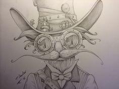 Steampunk cat blue pencil drawing by billyboyuk on DeviantArt