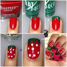 Summer Fun - Strawberry Nail Design