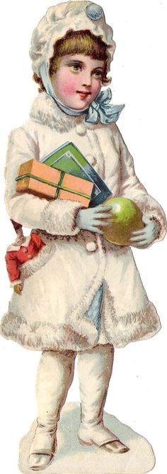 Oblaten Glanzbild scrap die cut chromo Winter Engel 17cm angel XMAS Schnee   eBay: