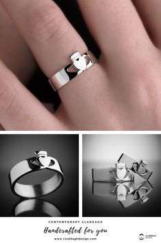 Stunning Claddagh Ring in a unique modern design created by Irish Designer and Master Silvermith Eileen Moylan. Available in ladies and men's in a variety of precious metals.