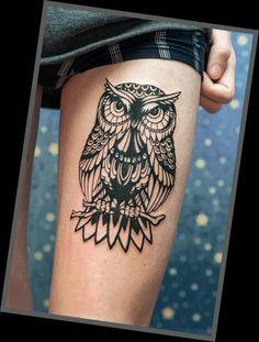 Female Leg Tattoos Designs, Sun Tattoo Designs, Best Tattoos For Women, Sleeve Tattoos For Women, Black And White Owl, Cool Tattoos, Thighs, Deviantart, Tattoo Ideas