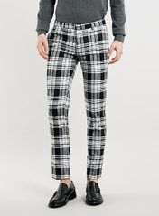 BLACK AND WHITE CHECK CROPPED ULTRA SKINNY FIT TROUSERS