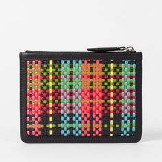 Paul Smith Men's Multi-Coloured Woven Check Zip Pouch ($150) ❤ liked on Polyvore featuring men's fashion, men's bags, mens leather bags and mens bag