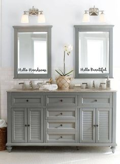 Bathroom Light Fixtures for Double Vanity. 20 Bathroom Light Fixtures for Double Vanity. Small Bathroom with White Cabinets Under Two White Sinks Grey Bathrooms, Bathroom Renos, Master Bathroom, Bathroom Mirrors, Bathroom Ideas, Bath Ideas, Luxury Bathrooms, Simple Bathroom, Bathroom Designs