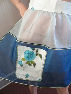 Vintage Frilly Apron, Blue Organdy Apron, Blue Rose Chintz Pocket, Rick Rack, Rockabilly Retro, Mid century apron, Unused, New Old Stock by CatBazaar on Etsy