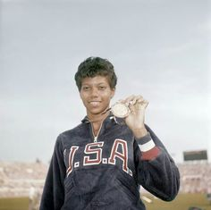 Wilma Rudolph, Sprinter and record holding Olympic champion. At the 1960 Rome Olympic Games she became the first American woman to win 3 Gold Medals in track & field in one Olympics. She was acclaimed the fastest woman in the world. American Athletes, American Sports, American Women, Olympic Champion, Olympic Team, Olympic Games, 1984 Olympics, Summer Olympics, Black Gazelles