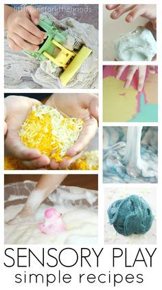 Simple sensory play ideas for tactile sensory play. Easy sensory play activities you can make at home or school that are perfect for toddler, preschool, and kindergarten age kids. Make sensory activities using flour, rice, cornstarch, sand, slime, soap, shaving cream, and water. Fun sensory recipes all kids love.