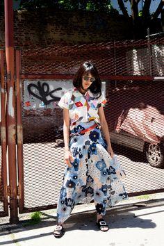Bode shirt, Chloé skirt, Roger Viver sandals, Versace sunglasses