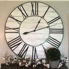 "36"" whitewashed wooden farmhouse clock. Fixer upper inspired   Two Moose Design"