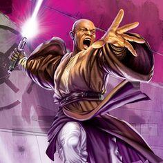 Mace Windu doesn't look quite so boring in this pic. Actually, he looks quite epic. Star Wars Jedi, Star Wars Art, Most Powerful Jedi, Ultimate Star Wars, Mace Windu, Jedi Knight, The Force Is Strong, Luke Skywalker, Geek Art
