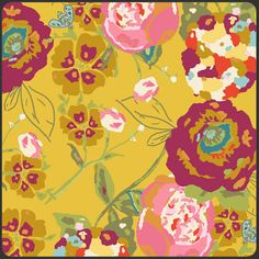 Lilly Belle Garden Rocket Ruby Mustard Yellow Floral Fabric from Etsy