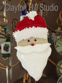Santa Ornament  Fused Glass by chneos on Etsy, $15.00