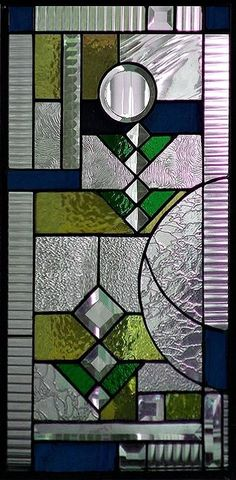 Custom Made Art Deco Stained Glass Panel