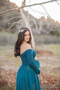 Roxy Gown • Long Sleeve Maternity Gown • Split Front Gown • Chiffon Maternity Gown • Maternity Dress • Maxi Dress • by Sew Trendy