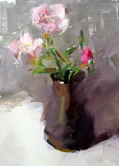 Evening Primrose impressionistic oil painting by Gina Brown