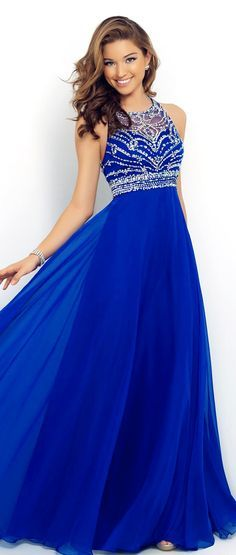 Royal Blue Prom Dresses Elegant A Line Beaded Halter Bandage Backless Sparkly 2015 New Chiffon Prom Dress