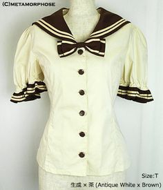 Sailor Puff Sleeve Blouse (Solid Color)