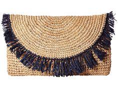 Hat Attack Sunshine Clutch w/ Crossbody Strap Clutch Handbags Natural/Navy Navy Blue Purse, Beige Purses, Fringe Purse, Crochet Handbags, Crochet Bags, Fashion Bags, Fashion Trends, Clutch Handbags, Clutch Bags