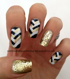 Black white gold weave nails w/ glitter. Next football season I'm supporting my Saints with this design