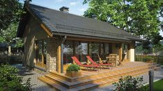 Projekt domu Ricardo XI 72,90 m² - koszt budowy - EXTRADOM Tiny House Cabin, Dream House Plans, Modern House Plans, Atrium, House Cladding, Small Cottage Homes, Village House Design, Compact House, Weekend House