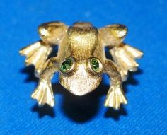 Jewelry Frog Tie Tac 1980's Rhinestones Green & by TheIDconnection, $18.00