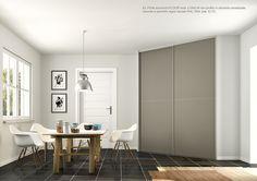 Porte scorrevoli FLOOR mod. LUNA 34 con profilo in alluminio anodizzato naturale e pannello in legno laccato opaco scala RAL 70 34. By ZEMMA