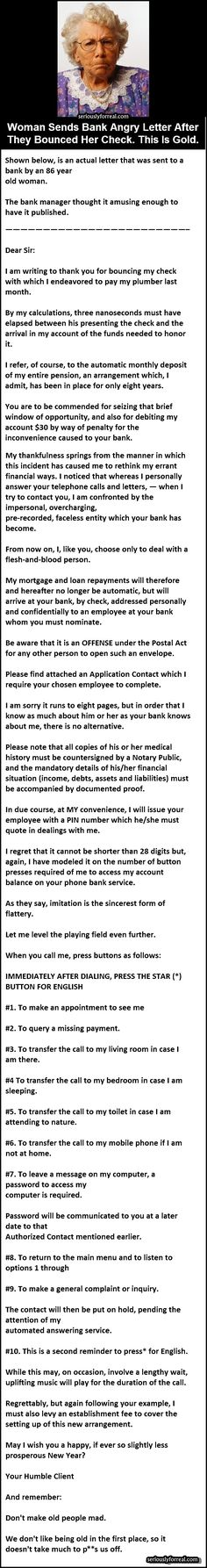 Woman Sends Bank Angry Letter After They Bounced Her Check. This Is Gold. - Seriously, For Real?Seriously, For Real?