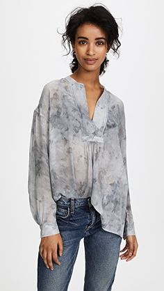 Marble Shirred Blouse