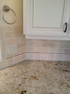 """Colonial Cream"" Design, Pictures, Remodel, Decor and Ideas; Colonial cream. Subway pencil ivory glaz""  ""colonial cream backsplash""  ""colonial cream"""