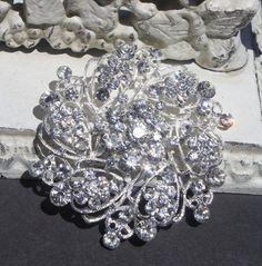 Rhinestone Brooch - Wedding Brooch Pin - Crystal Brooch  - Perfect For Bridal Bouquets - Bridal Sash- Bridesmaid Dress-Queen Ann. $14.95, via Etsy.