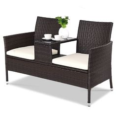 Costway Wicker Patio Conversation Loveseat Rattan Chat Seat Table Set with Beige Cushions - The Home Depot Used Outdoor Furniture, Patio Furniture Sets, Wicker Furniture, Garden Furniture, Rustic Furniture, Industrial Furniture, Antique Furniture, Modern Furniture, Furniture Ideas