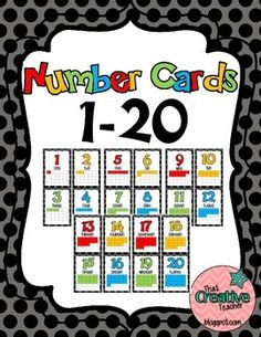 Number Cards 1-20 $2.50 on TPT