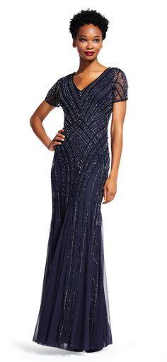 Adrianna Papell | Sheer Short Sleeve Dress with Beaded Arrow Design