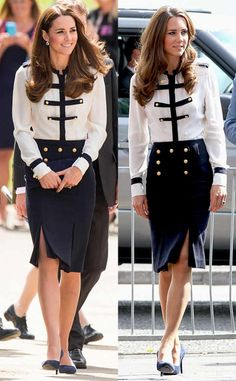 Alexander McQueen's Military Inspired Look Catherine first opted for the Alexander McQueen blouse and skirt combo in 2011 with Prince William and again in 2014 while and during a visit Great Britain's World War II code-breaking site. Kate Middleton Skirt, Princess Kate Middleton, Kate Middleton Style, Princesa Charlotte, Duchess Kate, Duchess Of Cambridge, Conservative Fashion, Alexander Mcqueen Dresses, How To Wear
