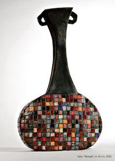 "Ute Grossmann. Raku vase called ""Mosaic"", H.: 45 cm, 2005"