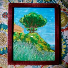"Tree In Albufeira, Portugal, 2014 oil pastel on paper 8"" x 10"" in a 9"" x 11"" frame © copyright Mike Kraus To Purchase, please visit: https://www.etsy.com/listing/190352538/tree-in-albufeira-portugal-original-8-x  Hiking along the Atlantic coast in southern Portugal.  The only shade from the intense sun is a tree.  Every so often, there's a cool breeze from the water to provide some relief.  It's a great place to drink vinho verde.  To plan our life together on the other side of the world."