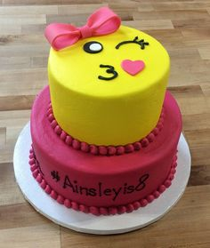Pink and Yellow Emoji Party Cake Cheap Clean Eating, Clean Eating Snacks, Emoji Cake, Cold Cake, Salty Cake, Almond Cakes, Cake Tins, Savoury Cake, Mini Cakes