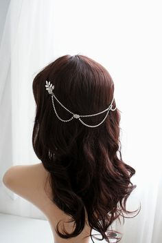 Silver hair chain with drapes Bridal by RoseRedRoseWhite on Etsy
