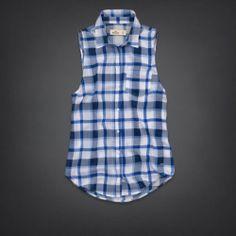 NEW Hollister Bettys Women Top Blouse Shirt Sleeveless Blue White Plaid Medium M