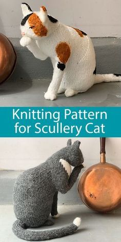 Knitting Pattern for The Scullery Cat - Knitting Pattern for The Scullery Cat . - Knitting Pattern for The Scullery Cat – Knitting Pattern for The Scullery Cat Adorable cat softie toy is 12 inches in height and is 5 inch – - Knitted Cat, Knitted Animals, Knitted Stuffed Animals, Animal Knitting Patterns, Crochet Patterns, Crochet Cat Pattern, Bear Patterns, Doll Patterns, Softies